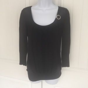 WHBM knit black 3/4 sleeve top size small